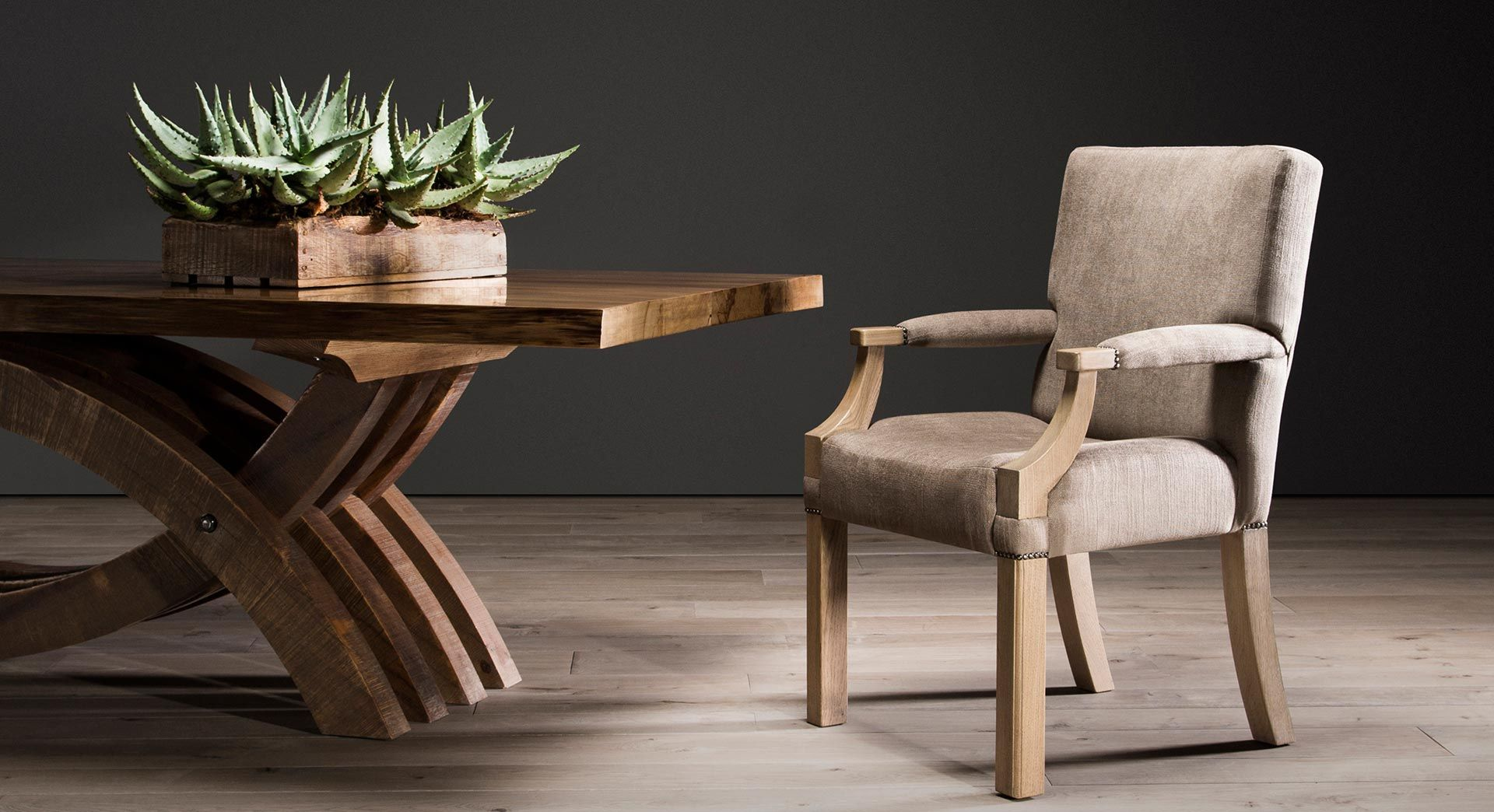Pierre cronje harker dining table in yellowwood brown wash with a