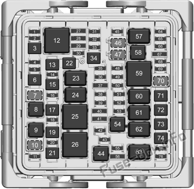 under-hood fuse box diagram: cadillac ats (2018)