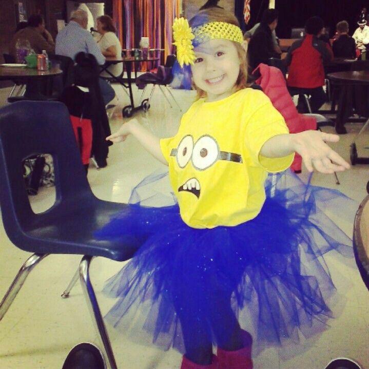 minion diy halloween costume with tutu and headband