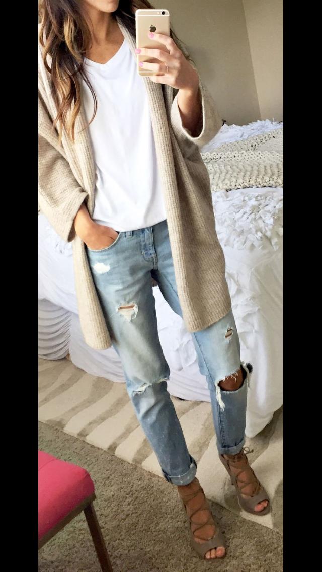 white tee, beige long cardigan, distressed boyfriend jeans