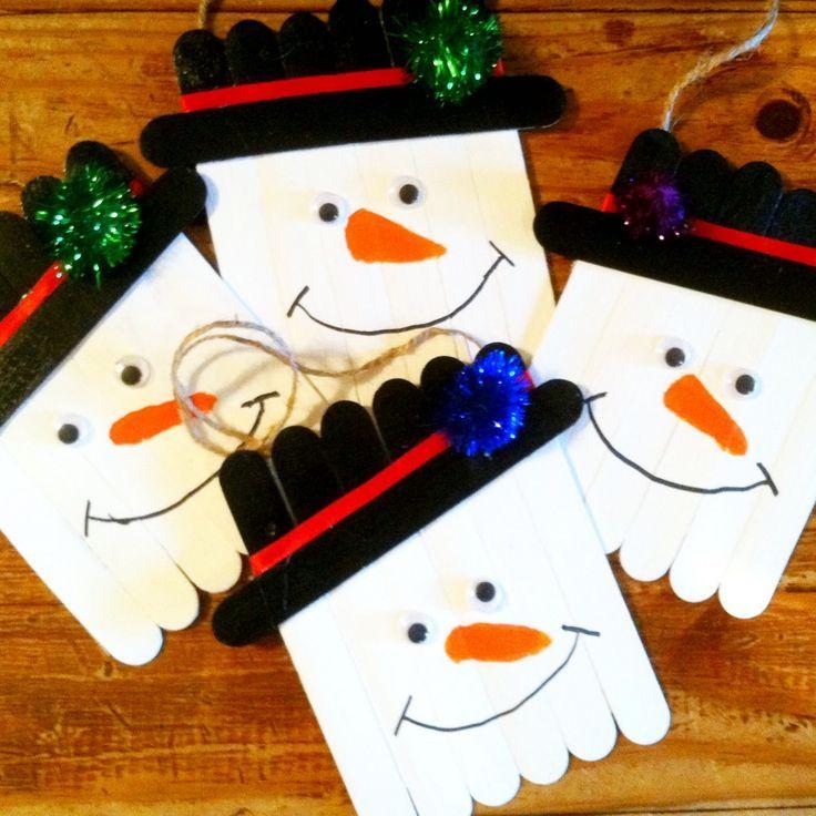 Christmas Craft Ideas Pinterest Part - 37: Popsicle Stick Snowman Hat Ornaments - Cute Christmas Craft For Kids To  Make! | Christmas Decor | Pinterest | Snowman Hat, Snowman And Ornament