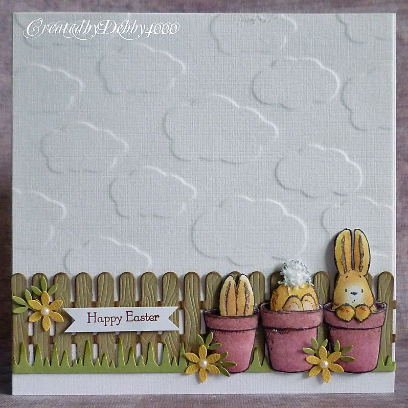 Penny Black Bunnies with embossed clouds background - bjl