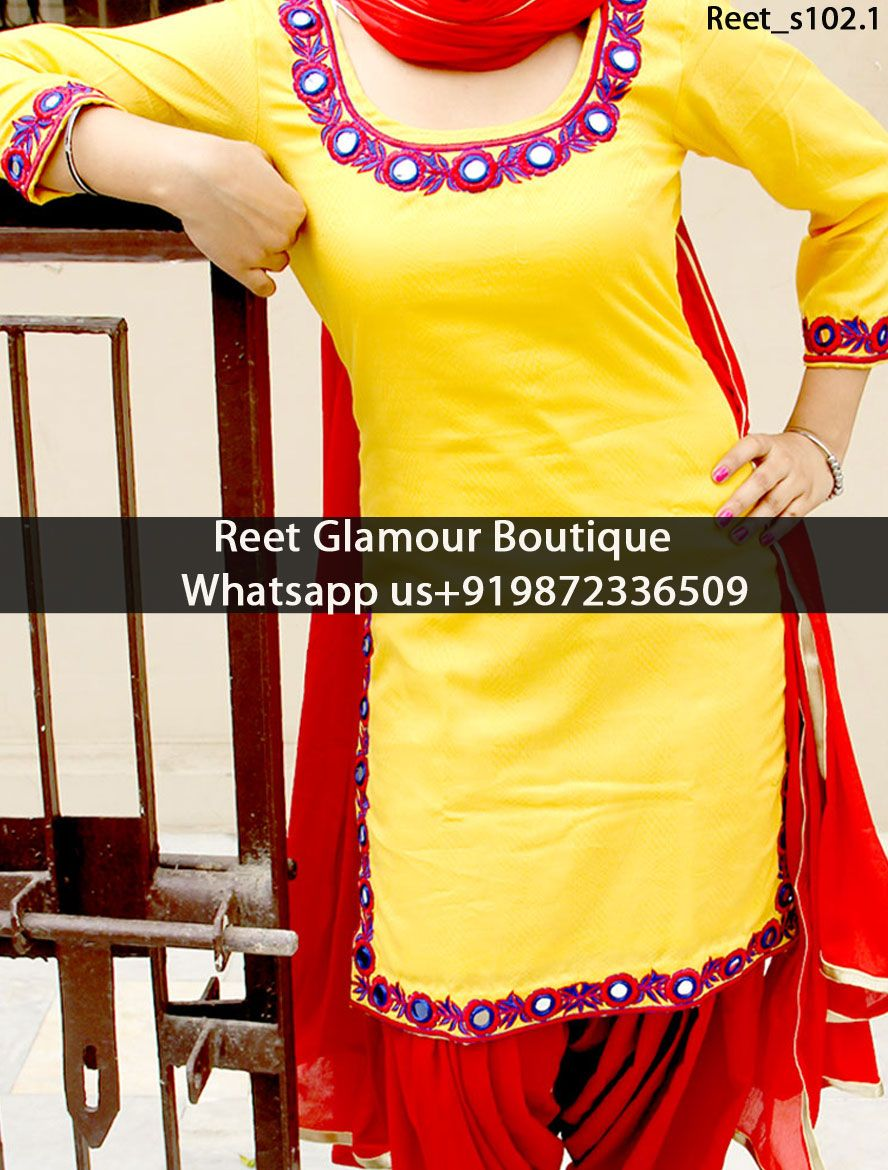 Dashing Yellow And Red Mirror Embroidered Punjabi Suit ...