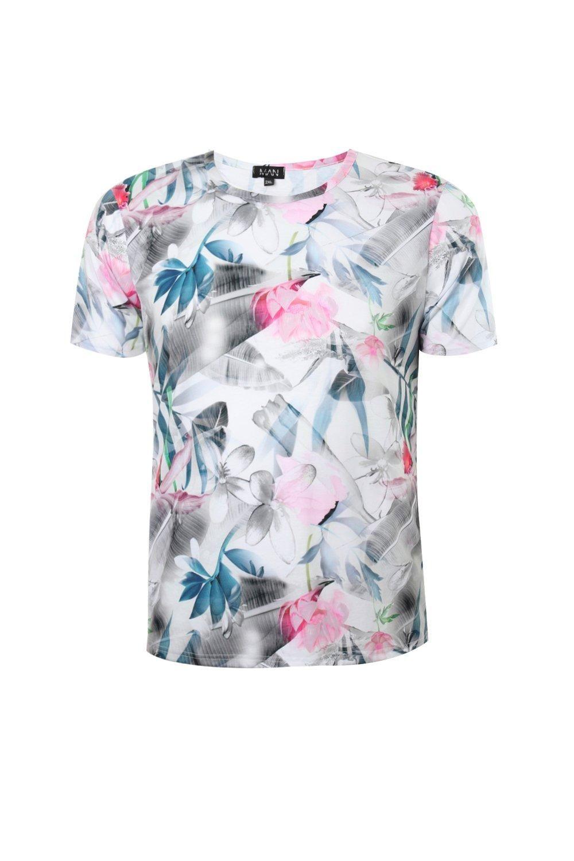 HTOOHTOOH Mens Summer Slim Rose Floral Print Half Sleeve Button Down Shirt Tops
