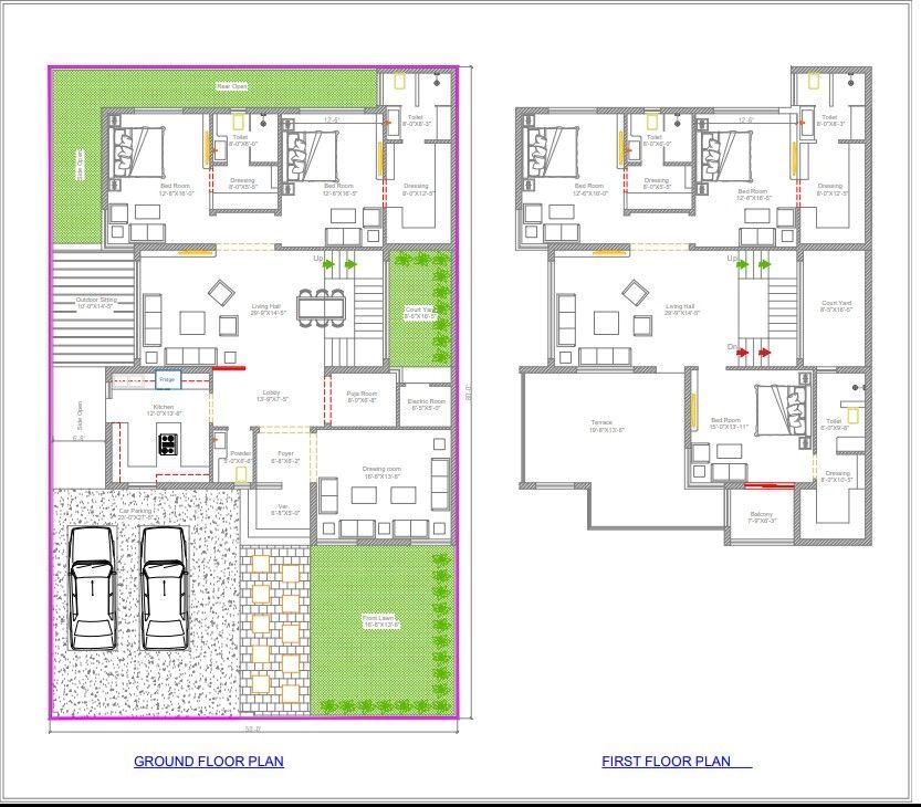 50x80 Floor Planning Ground Floor 2bhk First Floor 3bhk Luxury Home Planning Model House Plan Floor Plan Design 2bhk House Plan