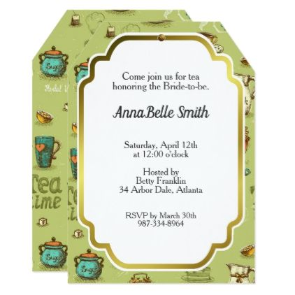 Tea And Honey Time In Green Card Wedding Invitations Cards Custom Invitation Design