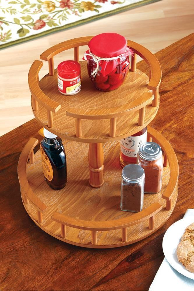 Lazy Susan 2 Tier Turntable Wooden Easy Spin Counter Top Or Table Country Home Caja De Almacenamiento De Madera Especieros De Madera Zapateras De Madera