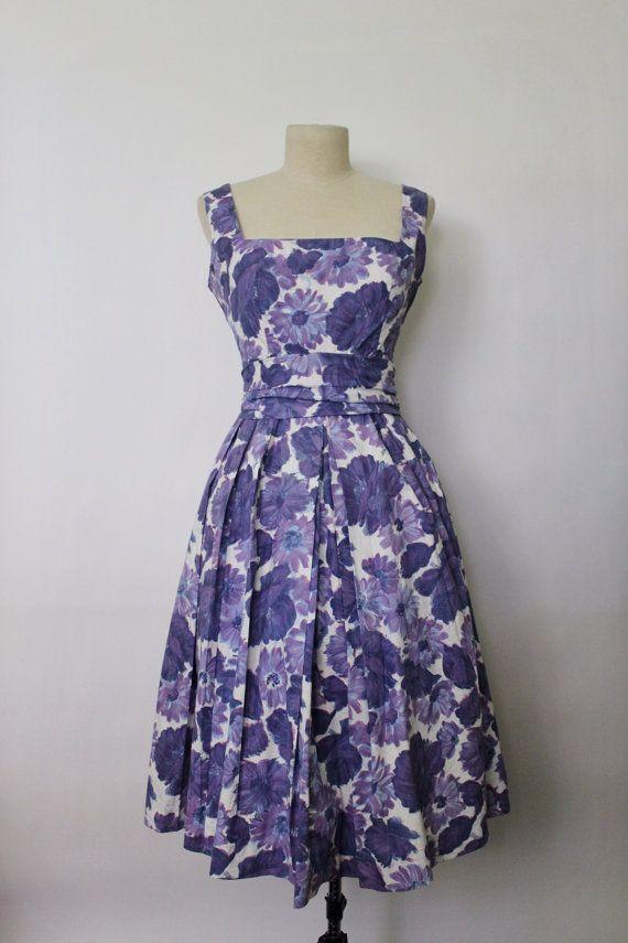 Vintage 1950s Dress | Purple Floral Dress | Mode O\'Day Dress | 50s ...