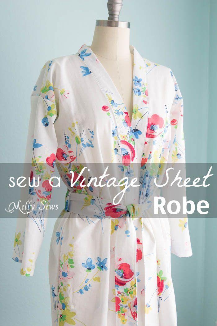 Vintage Sheet Robe | Nähen, Nähideen und Diy nähen