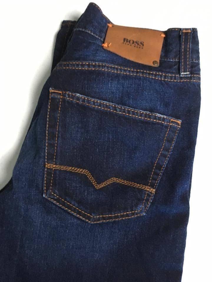 95a087e5d01 HUGO BOSS Selvedge Dark Wash Button Fly Regular Fit Jeans Men's Size 33 x  34 #Boss #Regular