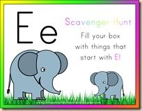 Letter E Scavenger Hunt Fill The Box With Things That Start With E