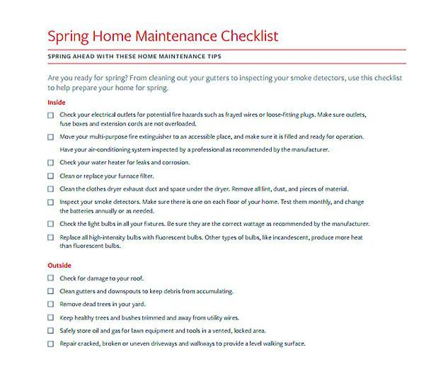 Spring Home Maintenance Checklist Template  Checklist Template