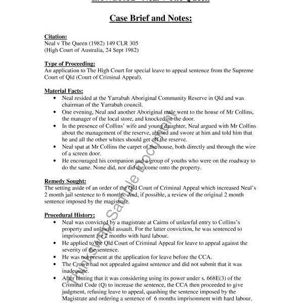 Legal Case Briefs Examples
