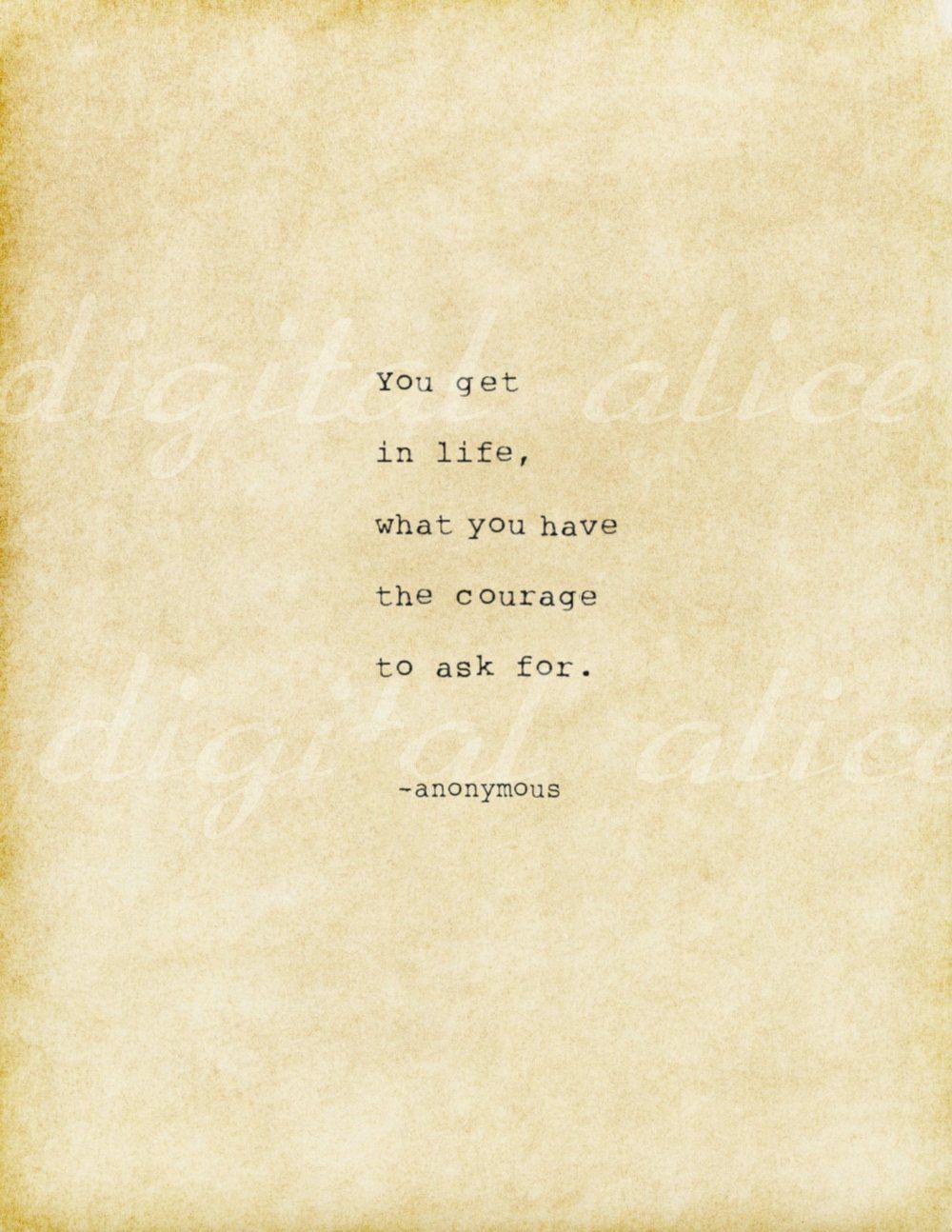 VINTAGE TYPEWRITER PRINT Digital Life Quote You get in life | Etsy
