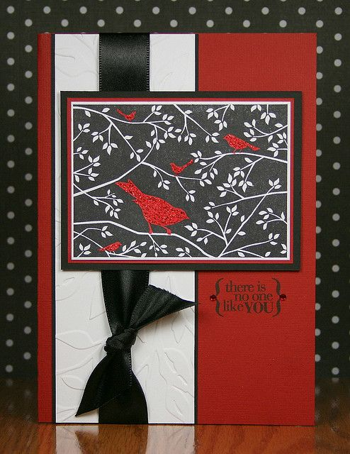 Handmade Card Luv The Black White And Deep Red Color Combo