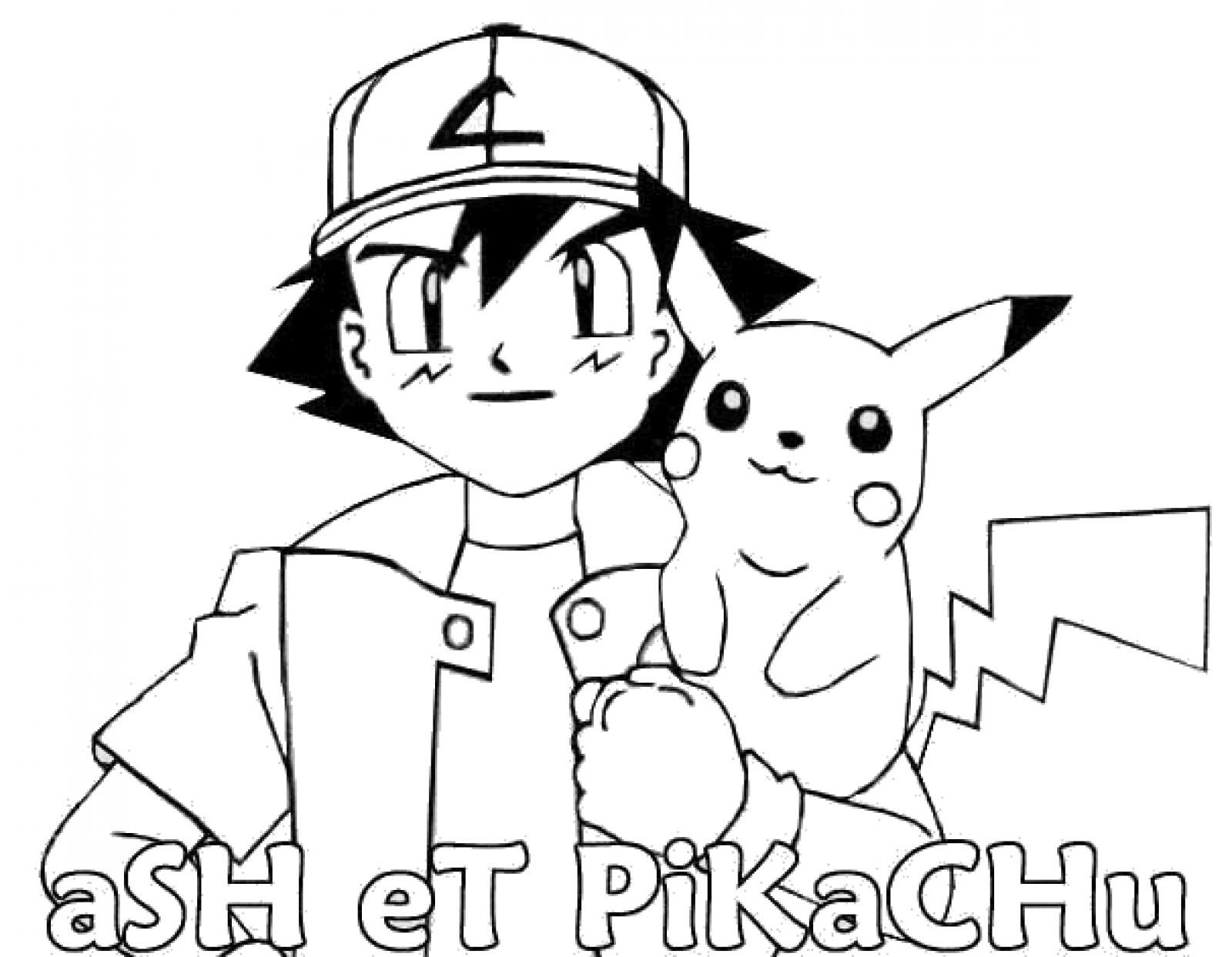 Pikachu coloring pages free printable - Ash And Pikachu Coloring Page