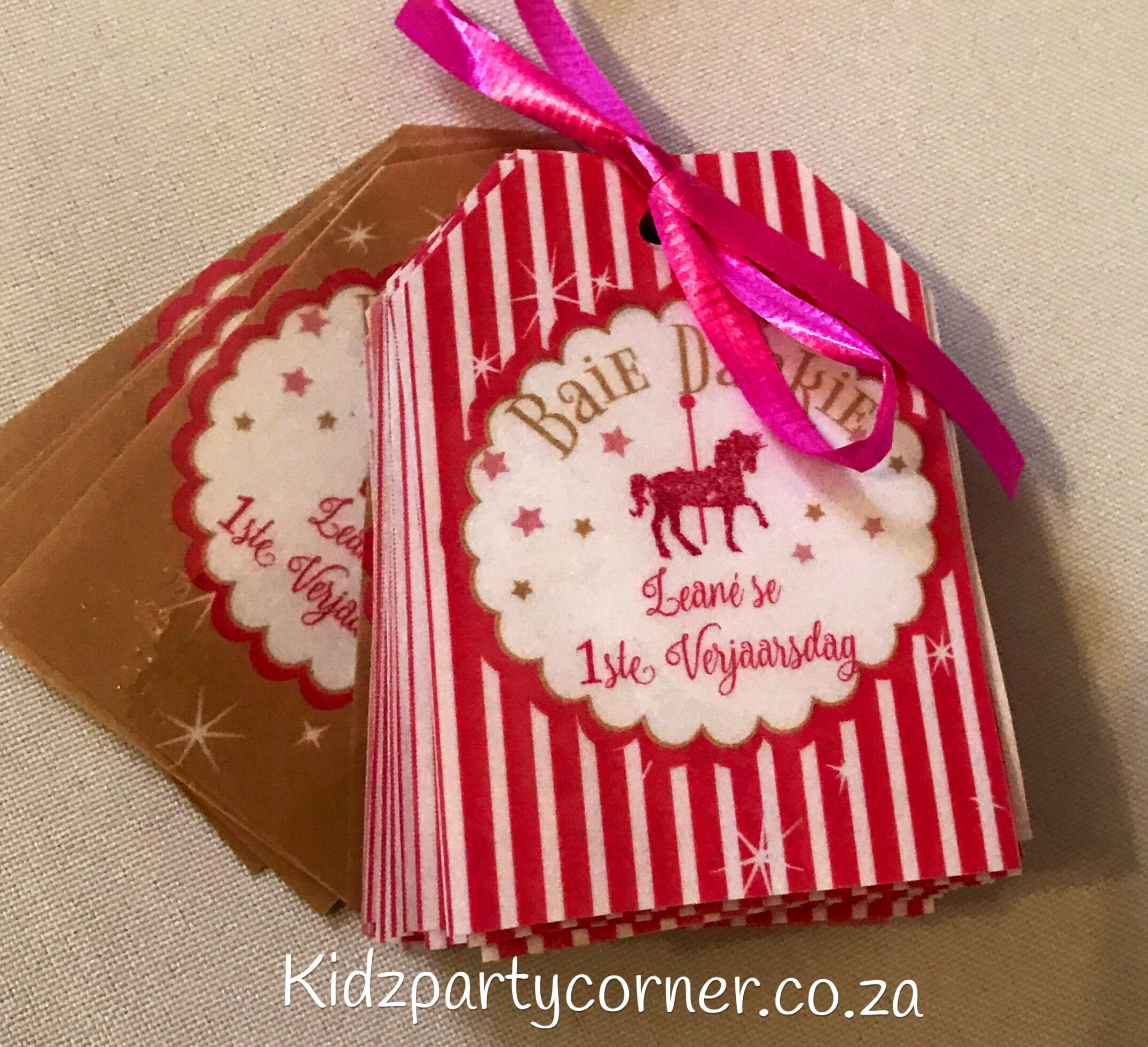Thank you tags Enchanted Carousel Party Theme supplies, favours and ...