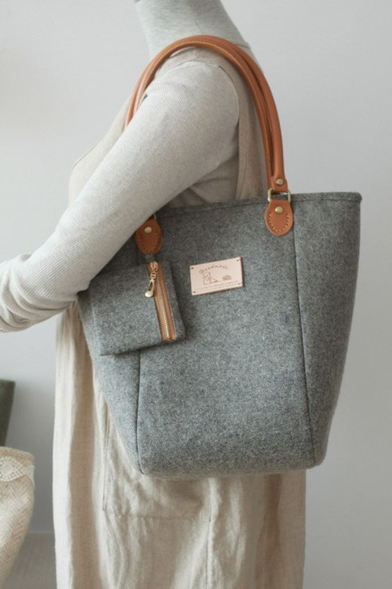 Tote Bag Handbag Wool Felt Tote Purse by burlapdesign on