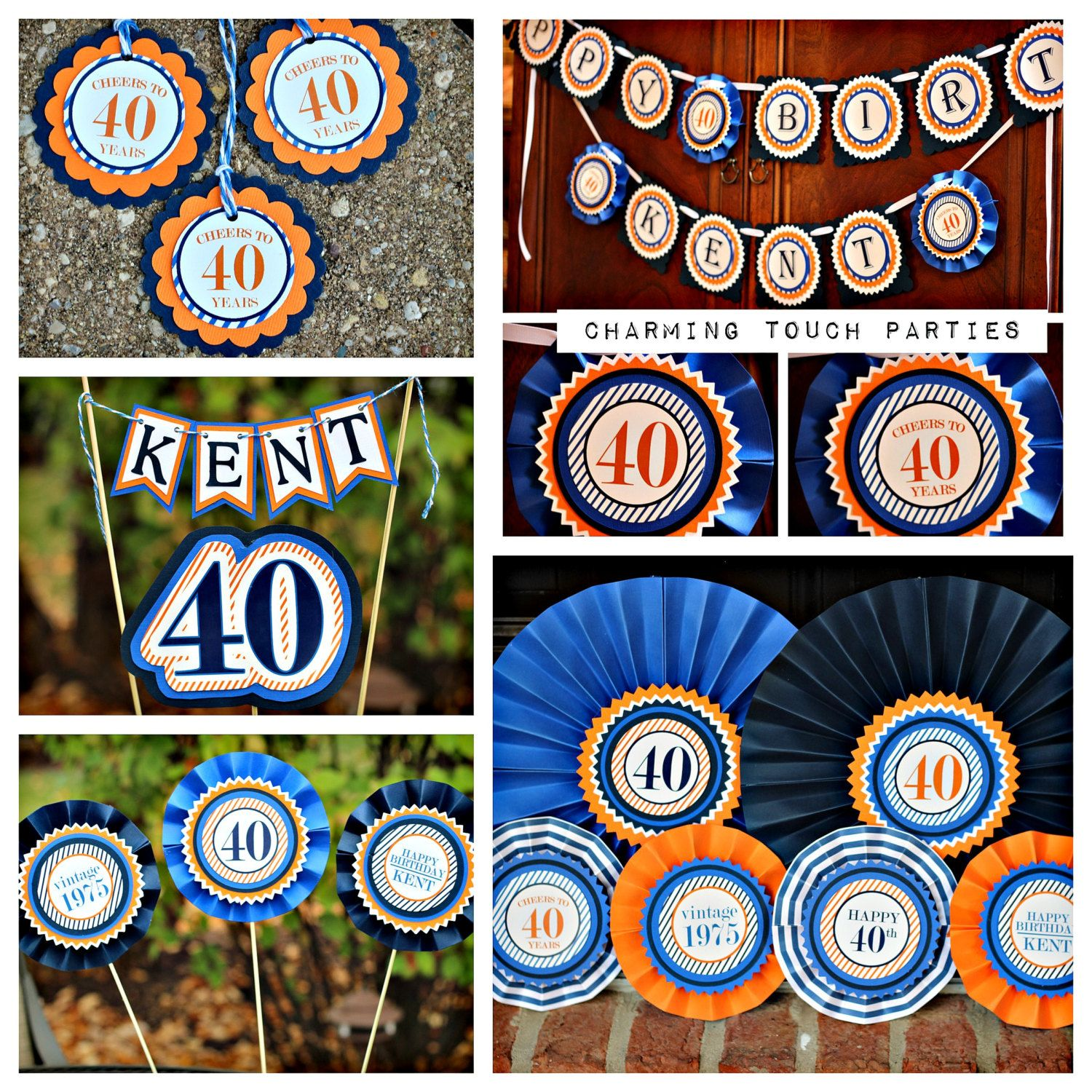 Masculine 40th Birthday Party Decor 5 Piece Blue And Orange Decorations Fully Assembled Customizable By CharmingTouchParties On Etsy