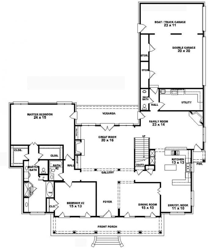 653741 1 5 story 4 bedroom 3 5 bath southern country for One story southern house plans