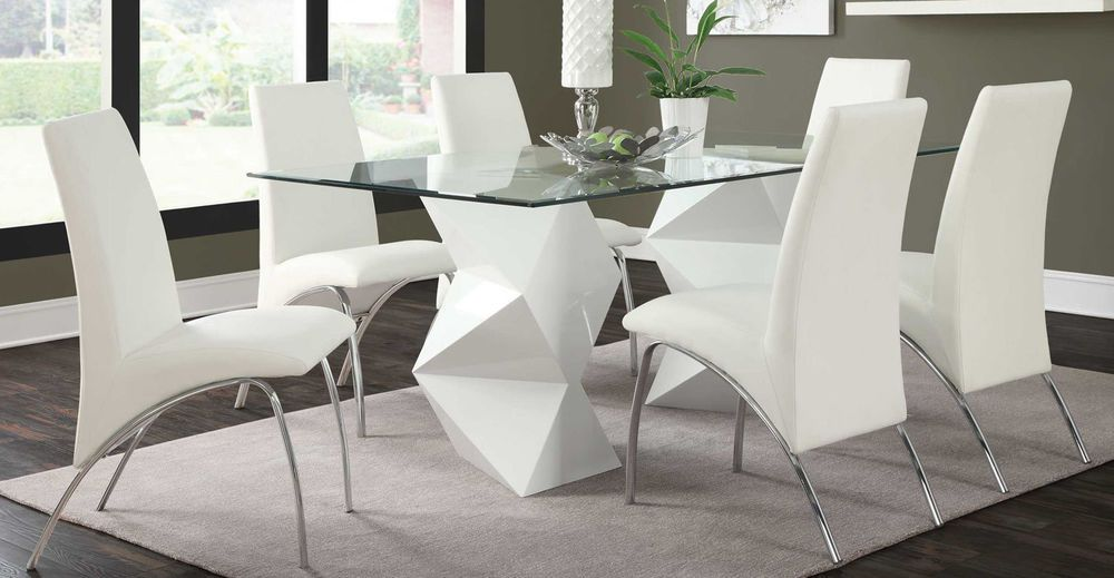Ultra Modern White Zigzag Dining Table 6 Arched Chairs Dining Room