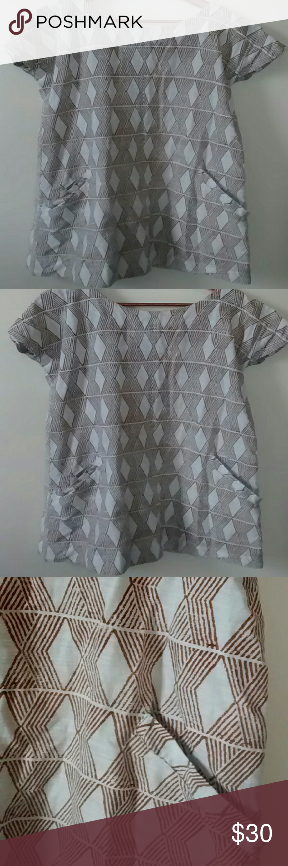 100% cotton tunic dress Fair trade from India, block printed 100% cotton tunic with side pockets and back zipper. Liz Alig  Dresses Mini