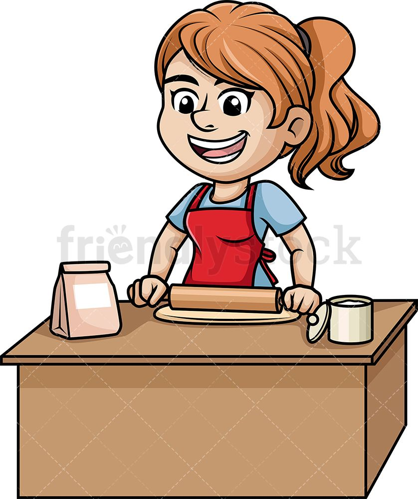 Woman Flattening Pizza Dough Cartoon Vector Clipart Friendlystock Cartoon Clip Art Cartoons Vector Cooking Clipart