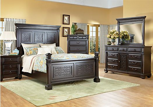 Picture Of Cindy Crawford Marisol Park King Black Pc Panel - Cindy crawford bedroom furniture discontinued