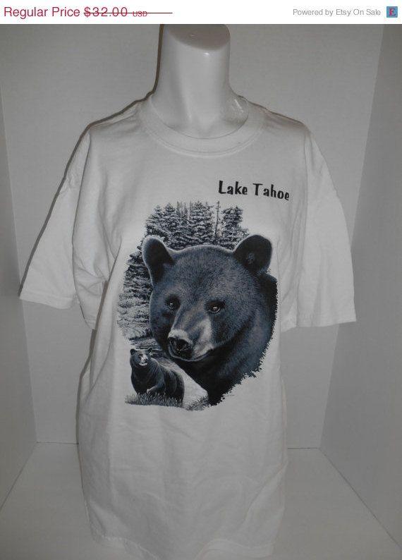 Vintage Clothing SALE Vintage unisex 90's  Bear  tee t shirt tshirt   Lake Tahoe    clothing clothes