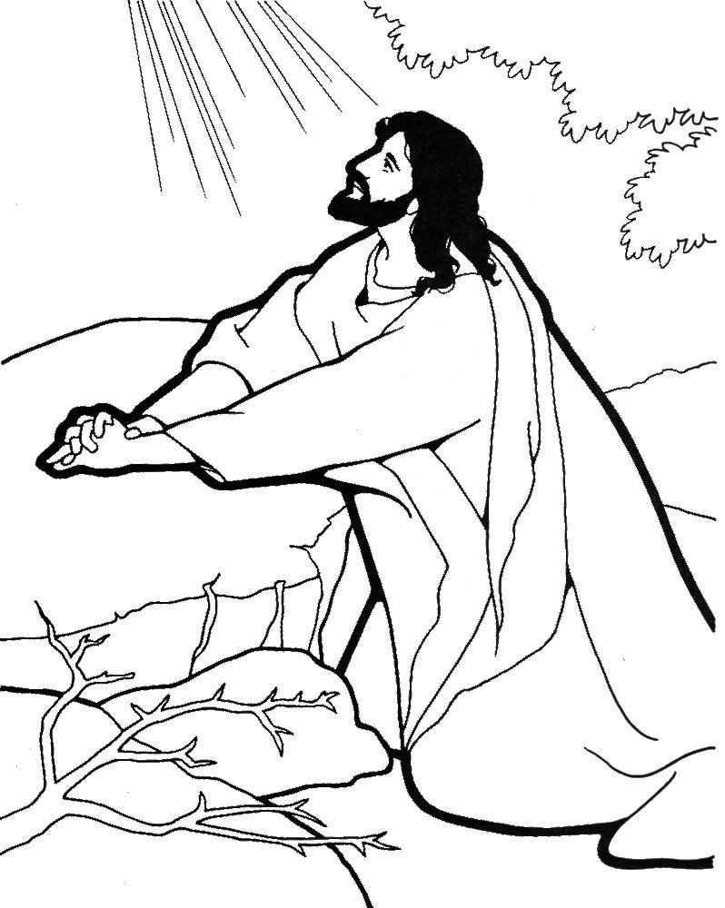 Jesus Praying Coloring Page