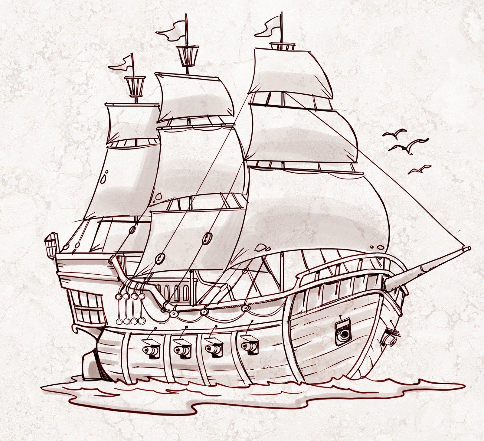 Jorge Santillan Dibujante Barco Pirata Pirate Ship Dibujo Barco Pirata Dibujo De Barco Barco Pirata