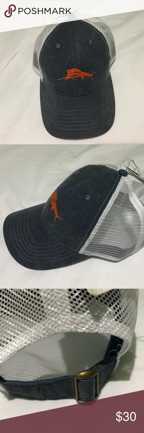 338b7b5e7fe93e Tommy Bahama Adjustable Trucker Hat Cap NEW Tommy Bahama Adjustable Trucker Hat  Cap NEW Color Blue
