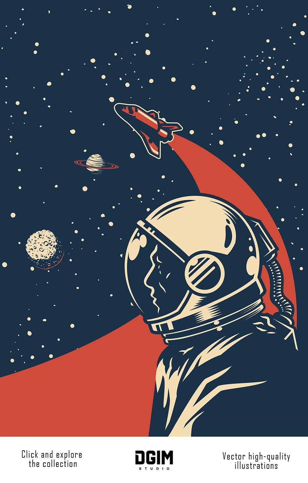 Vintage Space Emblems Set In 2020 Vintage Space Poster Retro Space Posters Space Poster Design