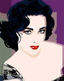 Great Liz Taylor Painting By Bradenton Artist Janine Hoffman Pop Art Portrait Design