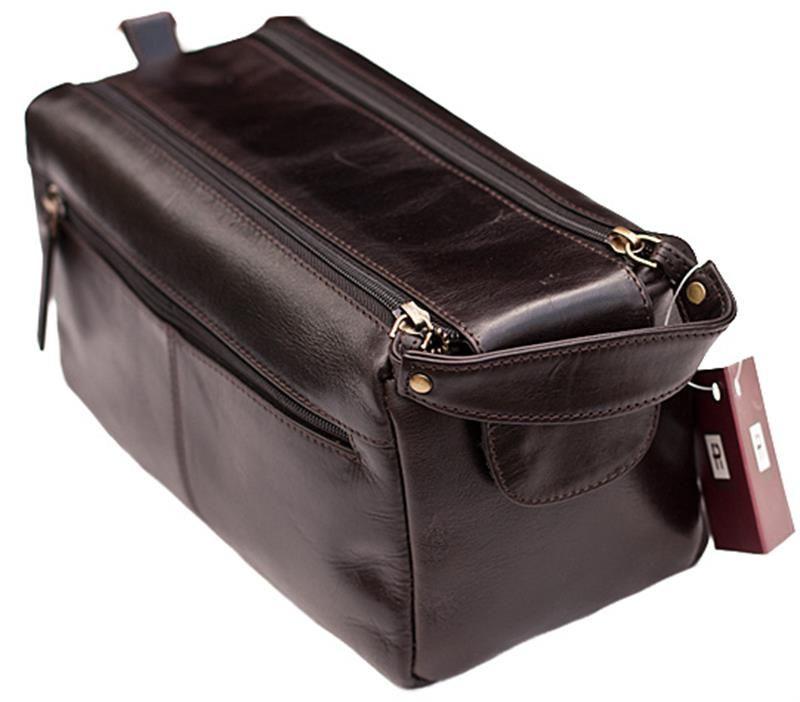 Prime Hide Mens  Dark Brown Leather Wash Bag - 917  b2c9a3cdabf64