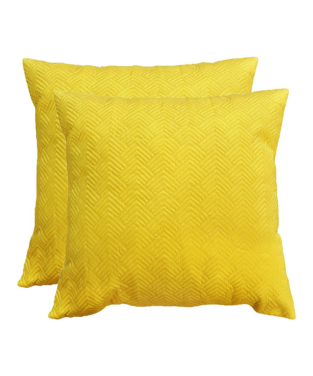 Yellow Arya Quilted Throw Pillow Set Of Two Apartment