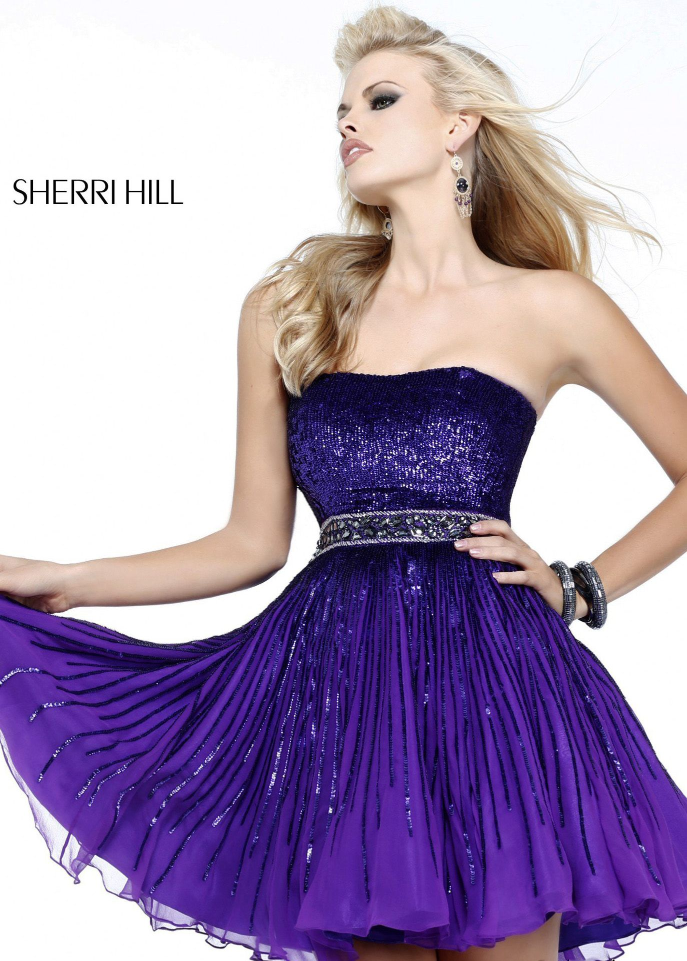Sherri hill purple strapless sequin short homecoming dresses