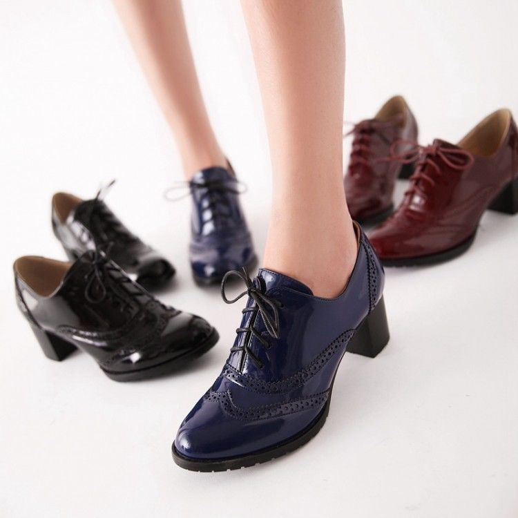 Casual Patent Leather Lace Up Stylish Women wingtip booties pumps Oxfords  Shoes