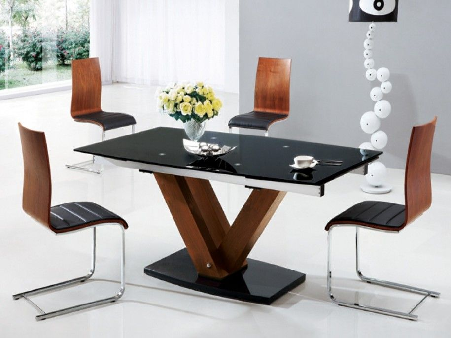 Dining Room Designs Exotic Modern Black Glass Dining Table Wooden Fascinating Glass Tables For Dining Room Inspiration