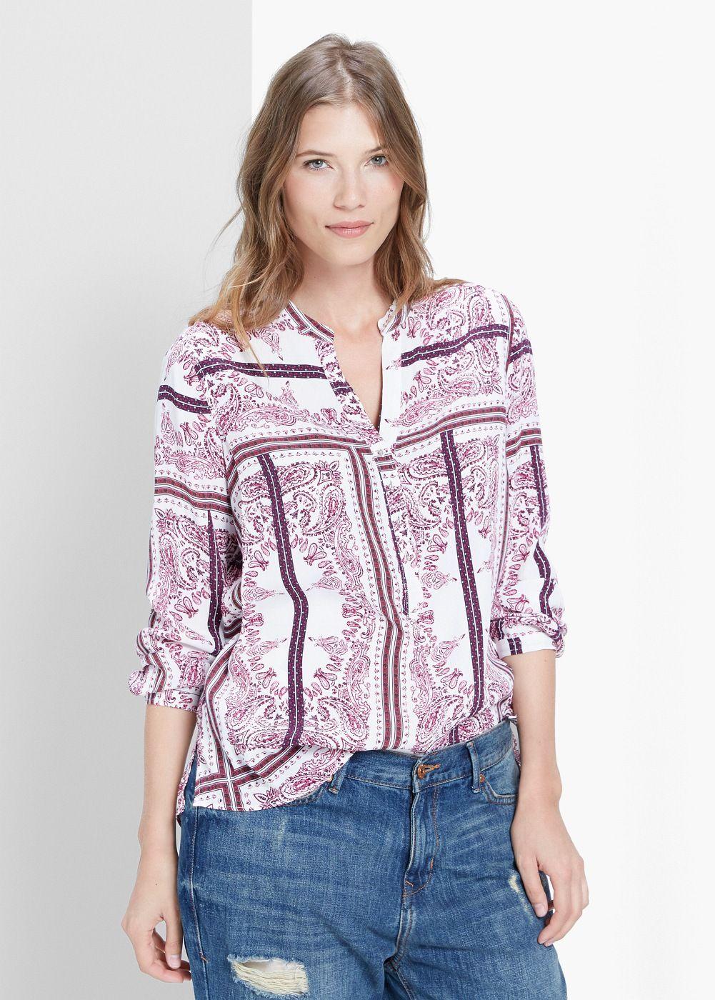 Blusa stampa paisley. La fantasia di questa camicia aiuta ad allungare il busto. This shirt's print help make yourbust longer