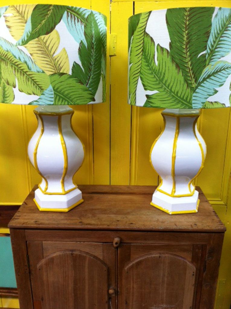Bahamas palms_yolk interiors custom lamp shade tropical