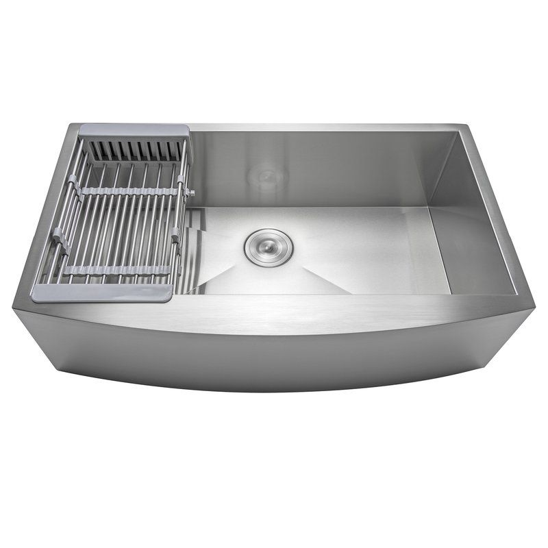 33 L X 20 W Farmhouse Kitchen Sink With Basket Strainer Single Bowl Kitchen Sink Apron Sink Kitchen Farmhouse Sink Kitchen