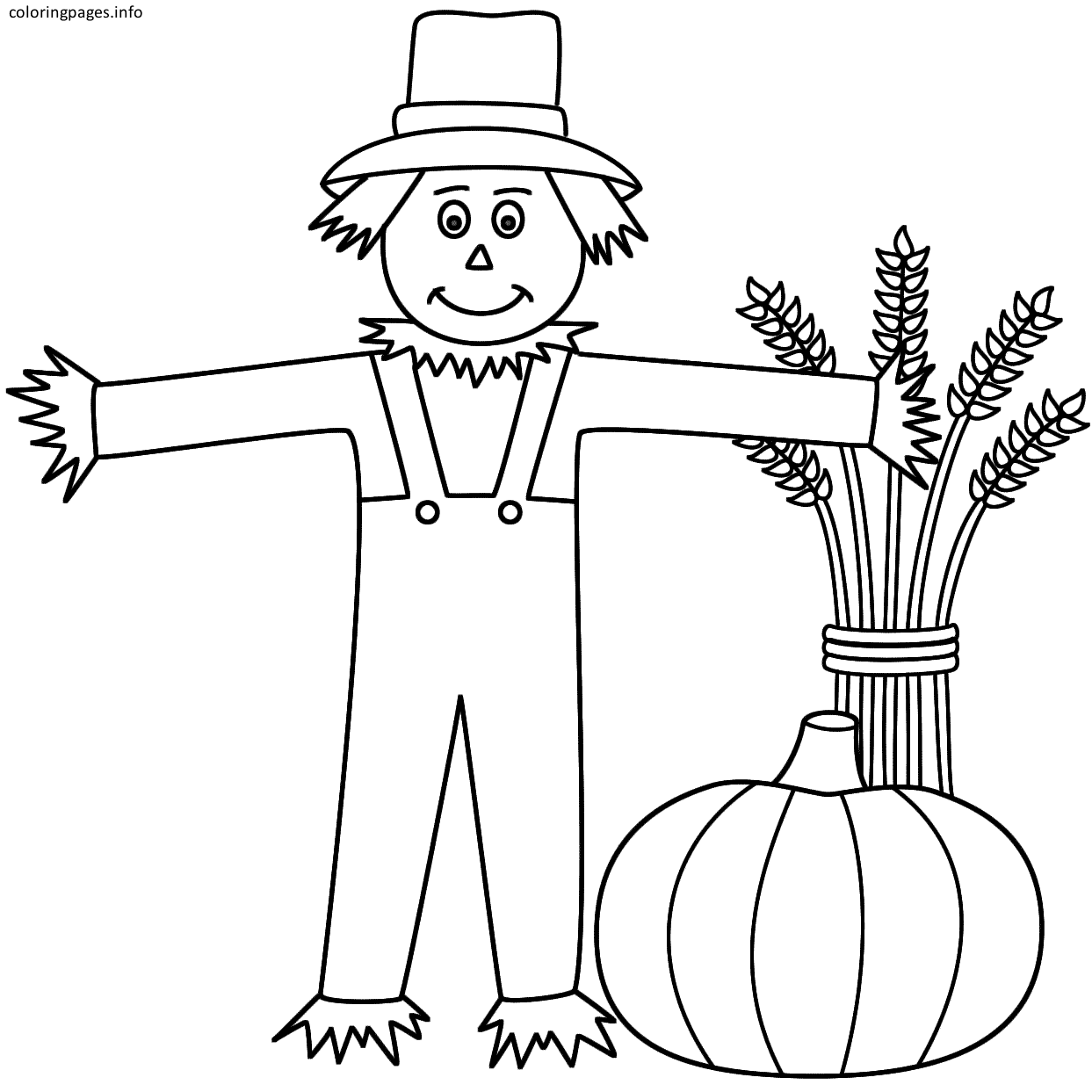 scarecrow and pumpkin coloring pages | Fall/Thanksgiving Theme ...