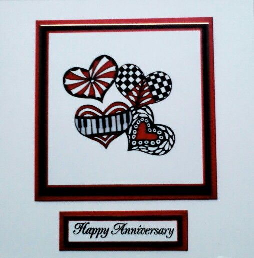 Another Doodled Card Creation This Time A Happy Anniversary Card Happy Anniversary Cards Anniversary Cards Cards