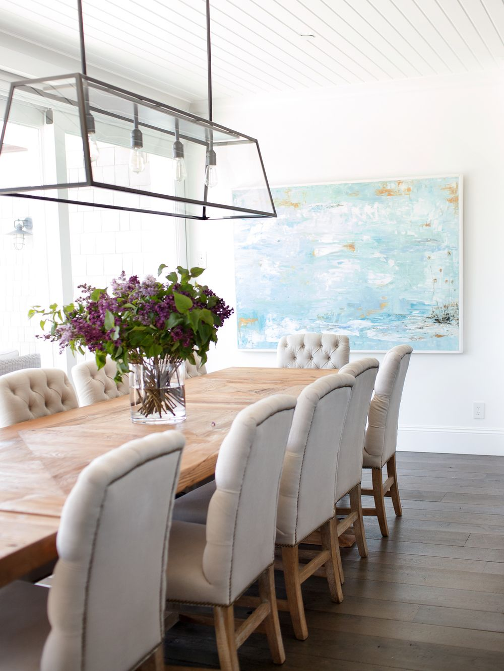 Beachy Dining Room Beadboard Ceiling Linear Dining Room Light - Dinner table ceiling light