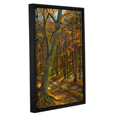 """Three Posts Road in the Woods Framed Painting Print Size: 48"""" H x 32"""" W x 2"""" D"""