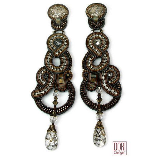 Embrace Chandelier Earrings (945 CAD) ❤ liked on Polyvore featuring jewelry, earrings, brown jewelry, chandelier earrings, earring jewelry, brown earrings and chandelier jewelry