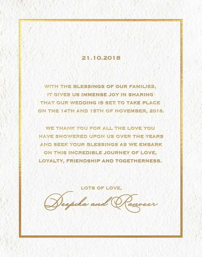 Image Result For Deepika Ranveer Wedding Invitation Wedding Invitation Cards Deepika Padukone Big Wedding