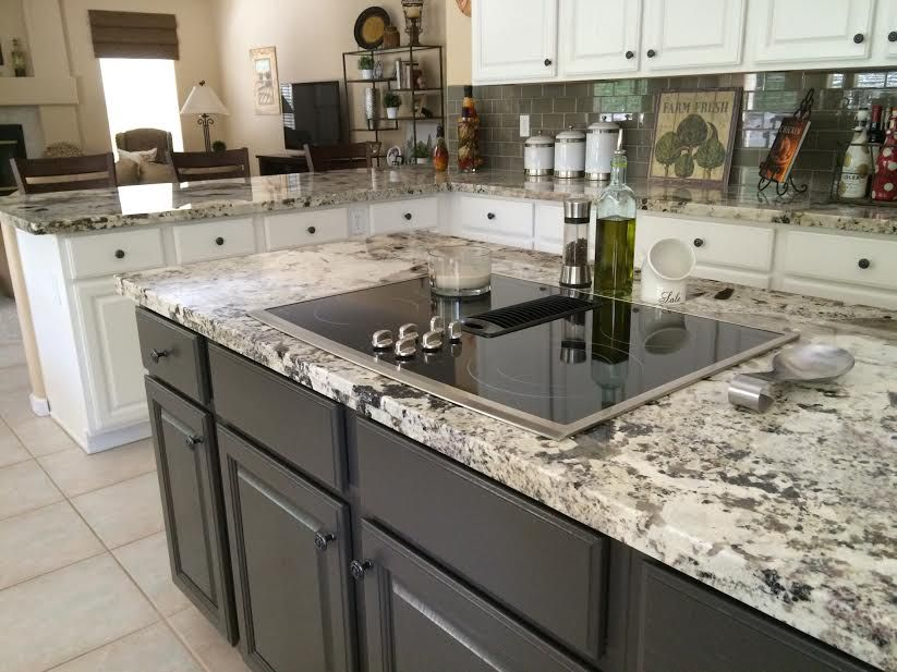 Best Alaska White Granite White Cabinets Dark Island Kitchens 400 x 300