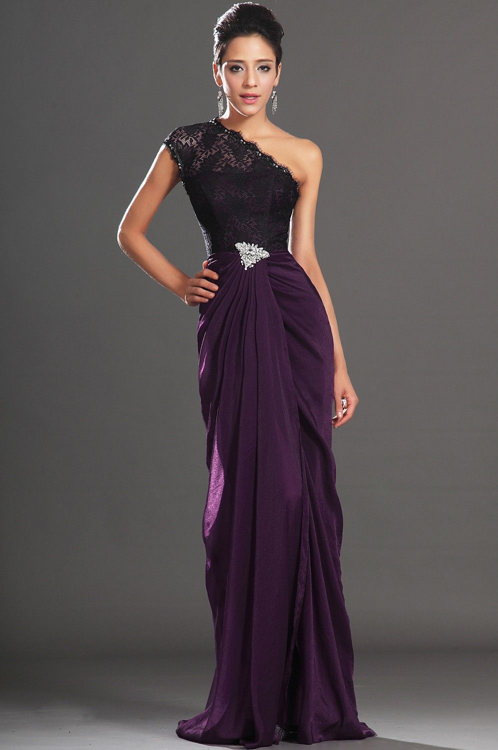 2013 New Elegant Lace A-Line One Shoulder High split Evening Dress ...